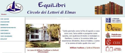 Sito di Equilibri, Circolo dei lettori di Elmas www.equilibrielmas.it