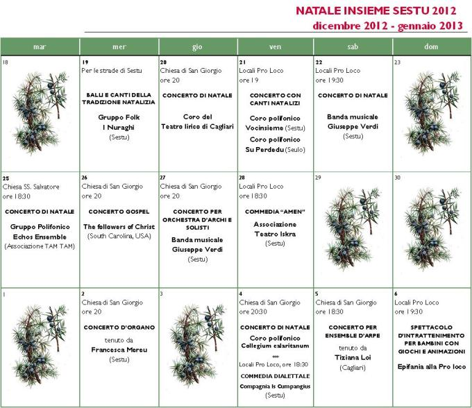 Calendario Natale 2012