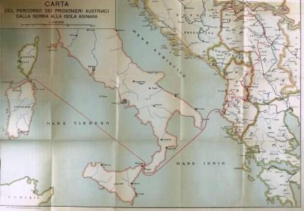 Carta del percorso dei prigionieri austriaci dalla Serbia all'Asinara